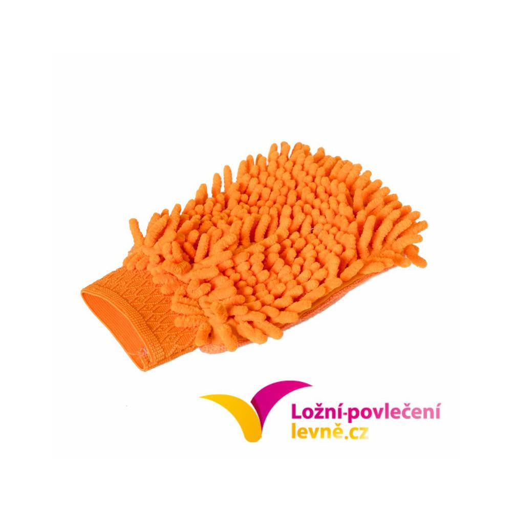 Mycí houba (rukavice) na auto z mikrovlákna - oranžová