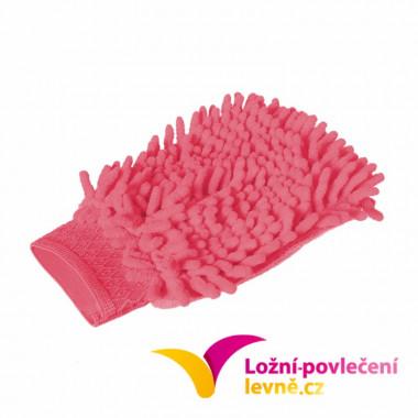Čistící rukavice z mikrovlákna 3 ks - růžová