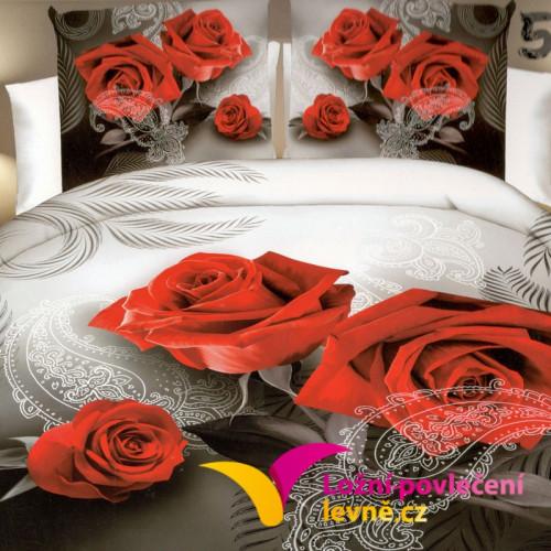 3D povlečení - červené růže s ornamenty