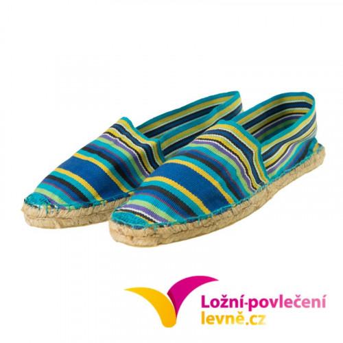 Slaměné pantofle s textílií - modré