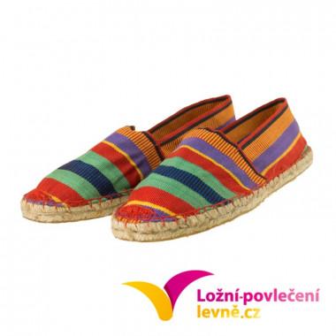 Slaměné pantofle s textílií - červené
