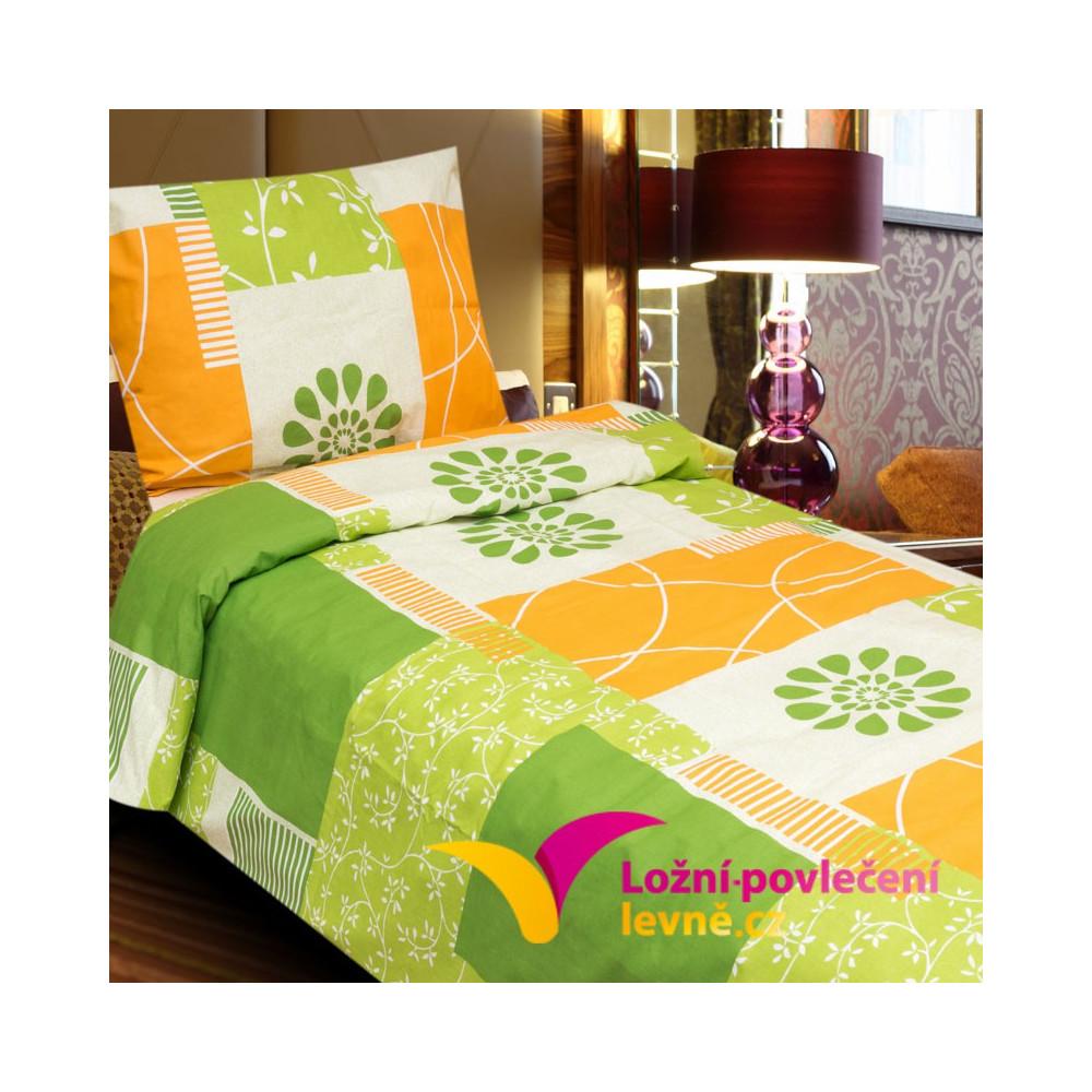 2-dílné prodloužení bavlněné povlečení 140x220cm - zeleno-oranžové