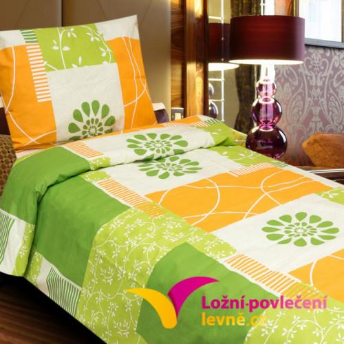 2-dílné bavlněné povlečení - zeleno-oranžové