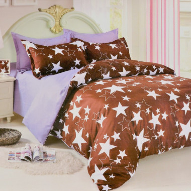 7-dílné bavlněné povlečení na dvoulůžko - hnědé s hvězdami