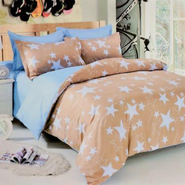 7-dílné bavlněné povlečení na dvoulůžko - krémové s hvězdami