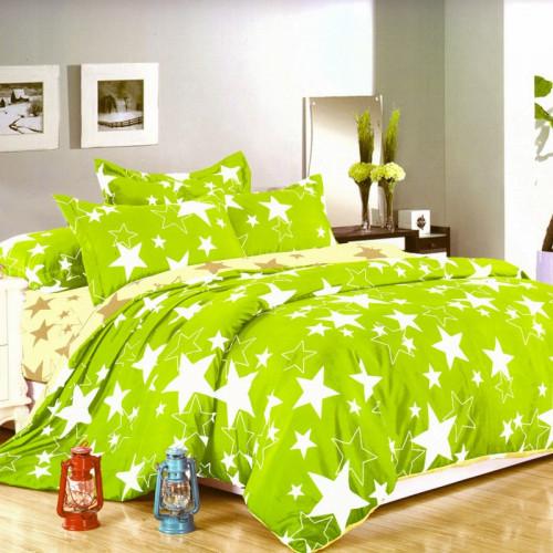 7-dílné bavlněné povlečení na dvoulůžko - zelené s hvězdami