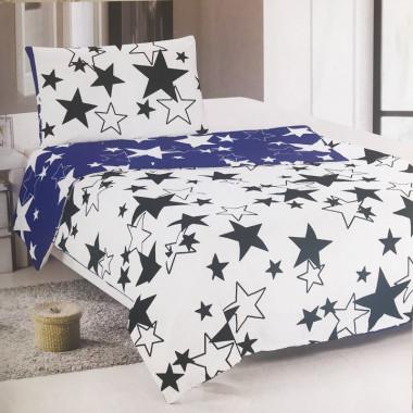 Bavlněné povlečení OGO - Modro-bílé hvězdy