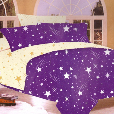 7-dílné povlečení- Hvězdy a křivky-fialová