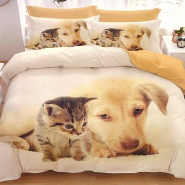 7-dílné 3D povlečení - štěně a kotě