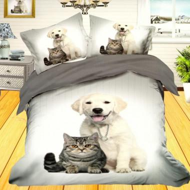 3D francouzské povlečení - Koťe a pes