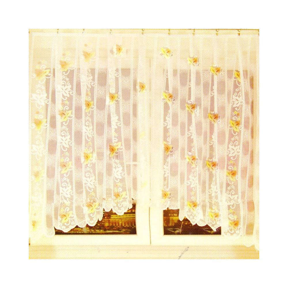 Záclona s motivem listů 121x280 cm