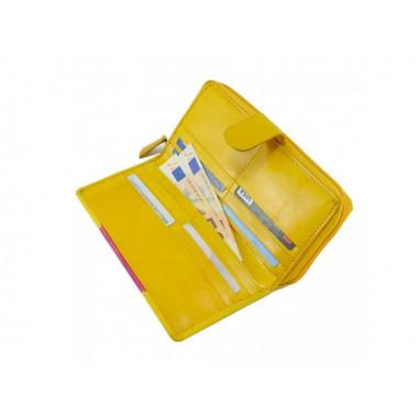 Velká dámská kožená peněženka, žlutá