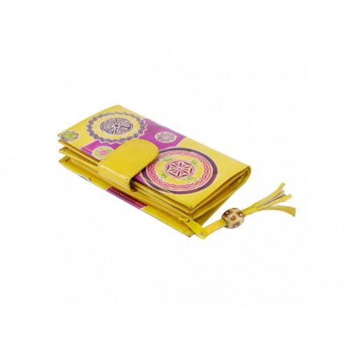 Dámská kožená peněženka, žlutá