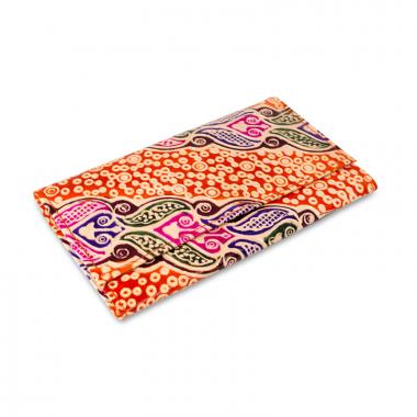 Dámská kožená peněženka - červeno-bílá s ornamenty