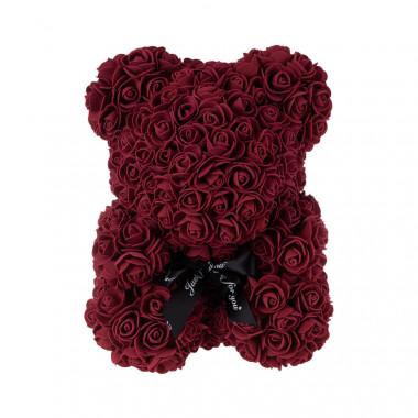 Medvídek z umělých růží 30 cm - bordo