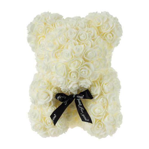 Medvídek z umělých růží 25 cm - bílý
