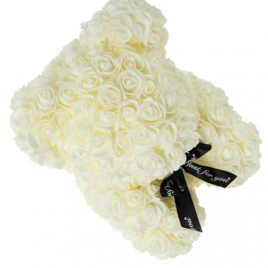 Medvídek z umělých růží 30 cm - bílý