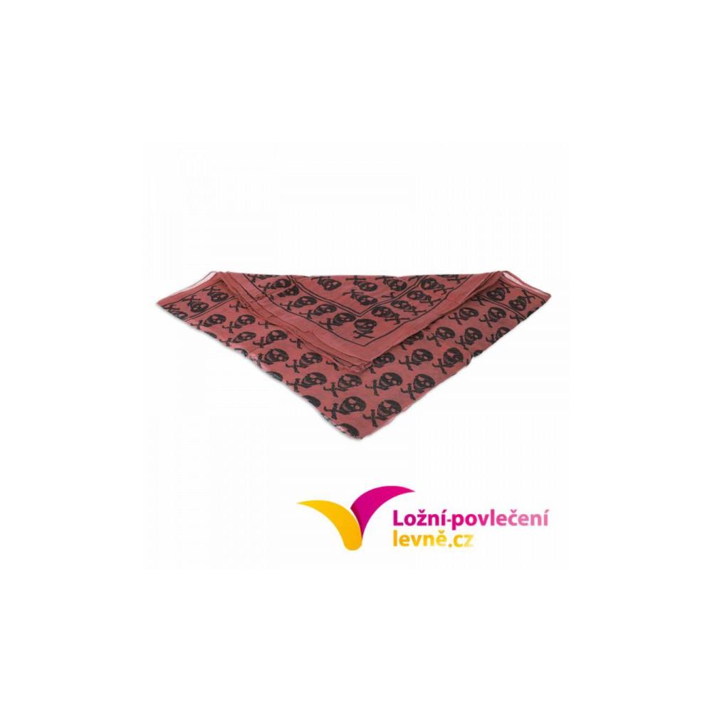 Šátek s menšími lebkami - granátová