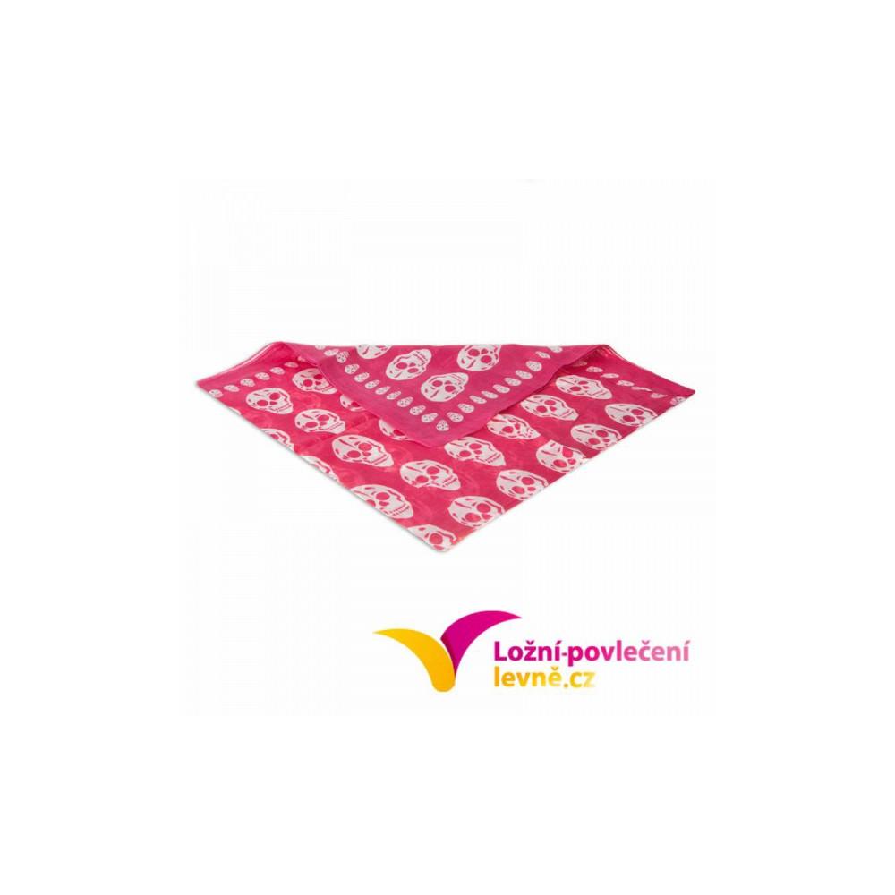 Šátek s lebkami - malinová