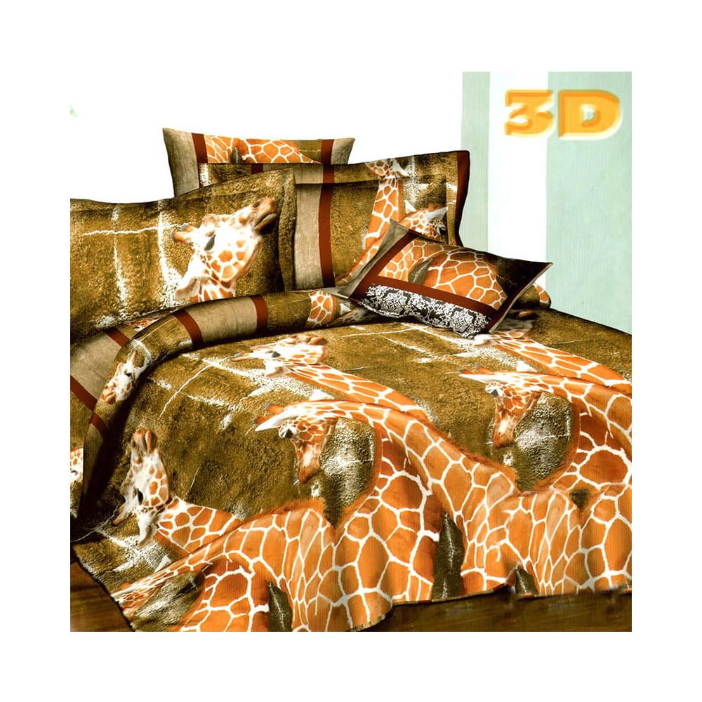 3D francouzské povlečení - ŽIRAFY - hnědé