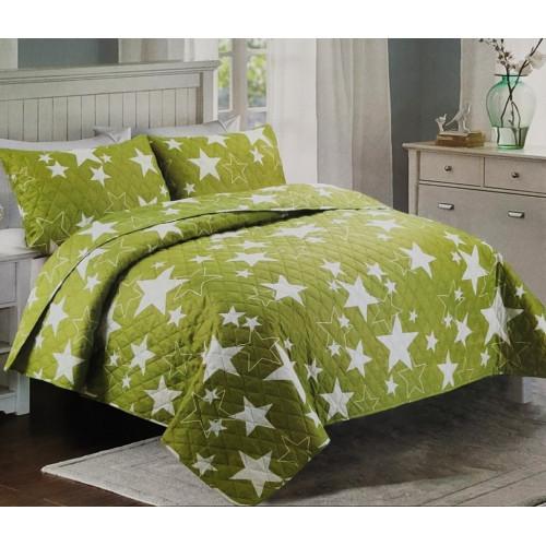 Přehoz na postel 200x240 - Zelené hvězdy