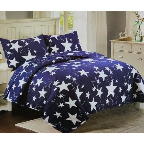 Přehoz na postel 200x240 - Modré hvězdy