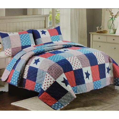 Přehoz na postel 200x240 - Hvězdy - červená a modrá
