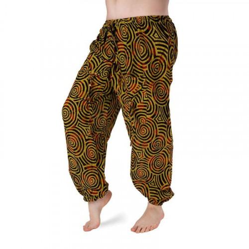 Bavlněné harémové kalhoty - hořčicovo-černý