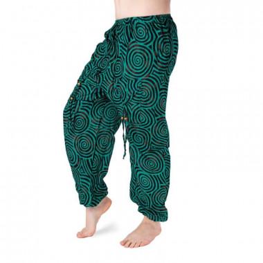 Bavlněné harémové kalhoty - zeleno-černé