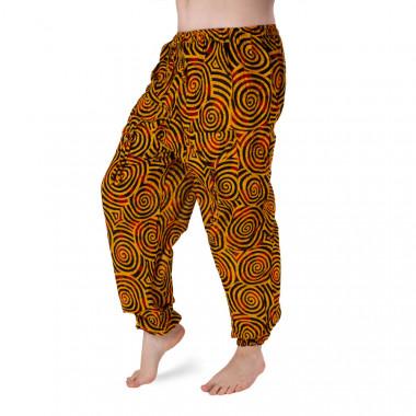 Bavlněné harémové kalhoty - žlutá černá