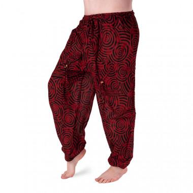 Bavlněné harémové kalhoty - Červená černá