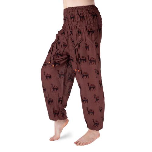 Bavlněné harémové kalhoty - Hnědý velbloud