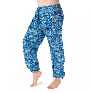 Bavlněné harémové kalhoty - Modrý bílý slon