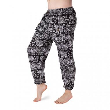 Bavlněné harémové kalhoty - Černý bílý slon