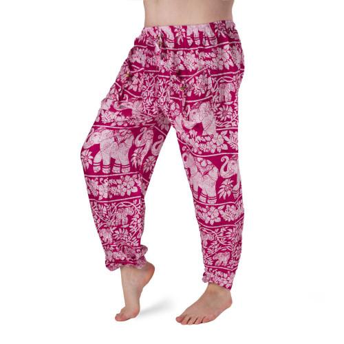 Bavlněné harémové kalhoty - Květiny