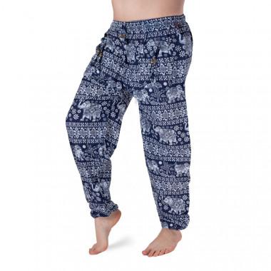 Bavlněné harémové kalhoty - Tmavě modrý slon