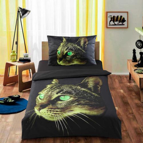 3D povlečení APEX - Zelená kočka