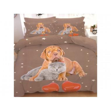 7-dílné 3D povlečení - DOG &CAT