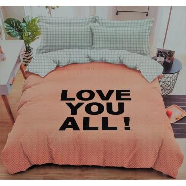 3-dílné oboustranné povlečení - Love You All - lososová