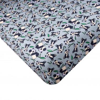 Dětské napínací Jersey prostěradlo 80x160 cm - Panda - modrá