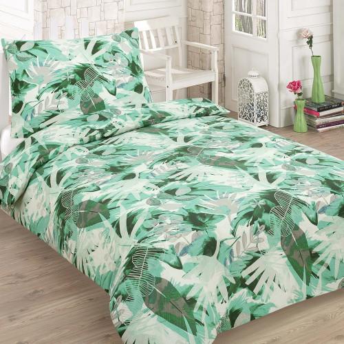 2-dílné bavlněné povlečení - Listy - zelené