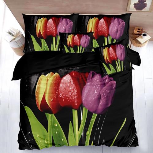 7-dílné 3D povlečení - Barevné tulipány