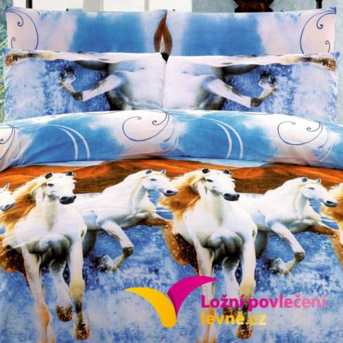 7-dílné 3D povlečení na dvoulůžko - bílé koně