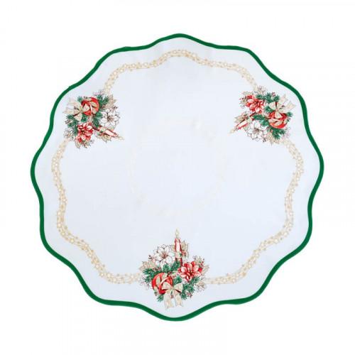 Vánoční dekorační ubrus - Kulatý 86 cm - zelená