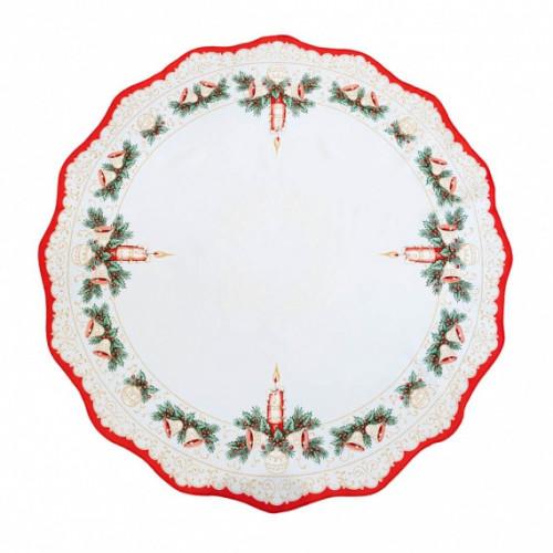 Vánoční dekorační ubrus - Kulatý 86 cm - červená