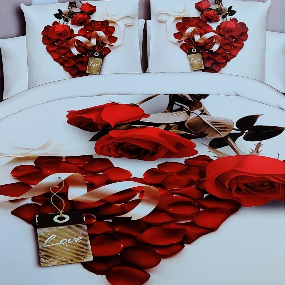 4-dílné 3D povlečení - Srdce z růží - DARINA 12