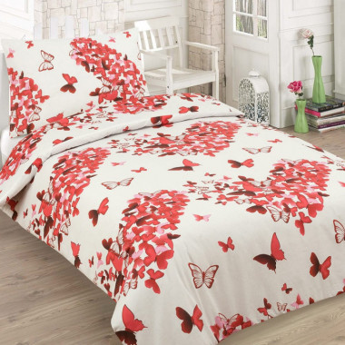 2-dílné bavlněné povlečení - Srdíčka z motýlů - červená