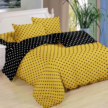2 - dílné oboustranné povlečení - PUNTÍK - žlutá a černá