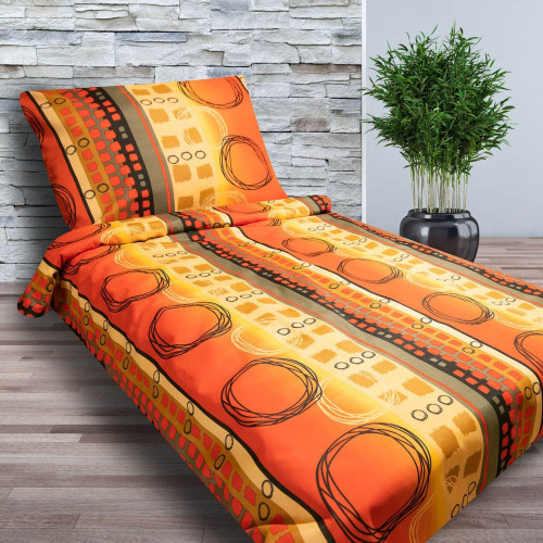 2-dílné bavlněné povlečení - MALVINA - oranžové kruhy