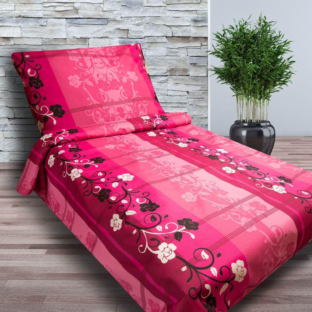 2-dílné bavlněné povlečení - MALVINA - růžové s květy